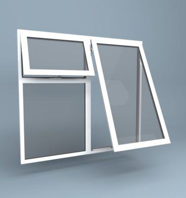 uPVC Window - Top Hung Right - Vent Over Fixed Left