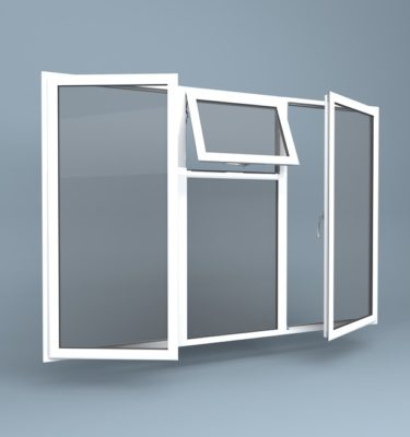 uPVC Window - Vent Over Fixed Centre - Side Hung Left & Right