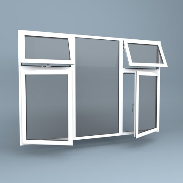 uPVC Window - Centre Fixed - Vent Over Side Hung Left & Right