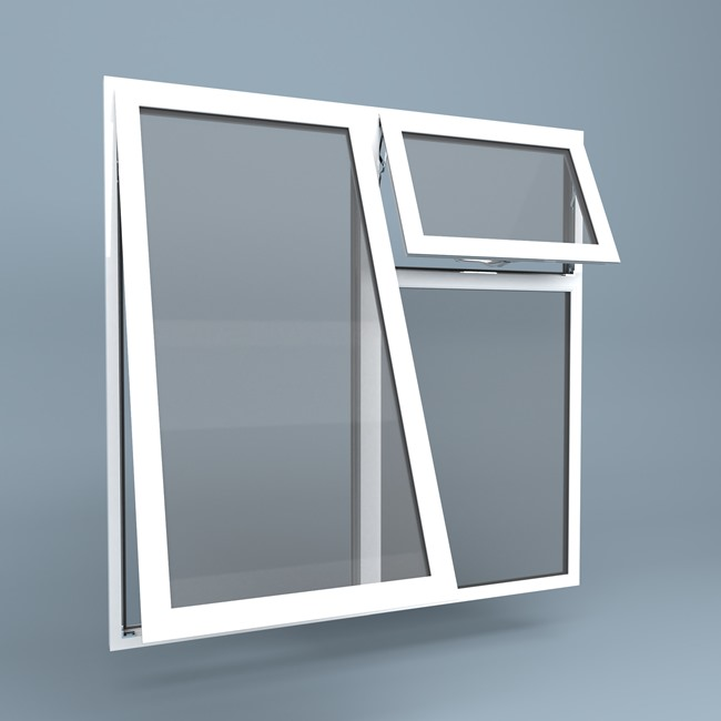 uPVC Window - Top Hung Left - Vent Over Fixed Right