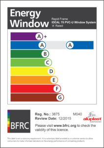 Energy Certificate - Window -A Rated
